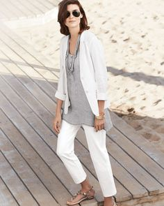 Eileen Fisher, New Tunic Scoop Neck Linen Mesh Henley Tank Top Eileen Fischer, White Skinny Pants, Business Casual Outfits, Weekend Wear, Jacket Buttons, Fashion Over 50, Comfortable Outfits, Fashion Outfits, Womens Fashion