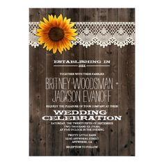 barn wood and lace sunflower wedding invitations