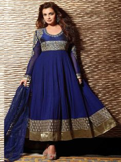 Dark Blue Diya Mirza Designer Collection Georgette Anarkali suit with patch and Heavu embroidery Work. At $70.Buy from http://www.imshopaholic.com/dark-blue-diya-mirza-designer-collection