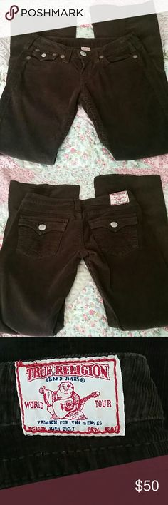 """True Religion Corduroy Jeans Chocolate brown cords. These are Joey Big T. Inseam is 33"""". True Religion Pants Boot Cut & Flare"""