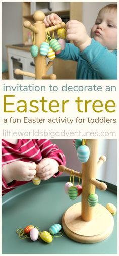 Easter Tree Decorating for Toddlers - Little Worlds Easter Tree decorating for toddlers. A fun invitation to play and explore. Easter Activities For Toddlers, Creative Activities For Kids, Spring Activities, Infant Activities, Indoor Activities, Creative Kids, Toddler Fun, Toddler Crafts, Kids Crafts