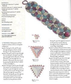 perlas de triángulo, cómo tejer triángulo de cuentas, abalorios esquema grano esquema colgante triángulo, brazalete de cuentas