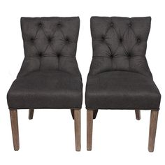"""(Set of 2) Pair of Hallfield dining chairs in deep tufted velour cotton blend accented by metal nail-heads and legs in a weathered oak finish. Seat Height 19.5"""""""