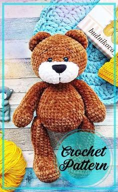 Crochet Teddy Bear Pattern Free, Teddy Bear Patterns Free, Knitted Teddy Bear, Crochet Dolls Free Patterns, Crochet Doll Pattern, Bears, Crafting, Gardens, Embroidery
