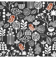 Retro Birds and flowers seamless pattern vector by ekapanova on VectorStock®