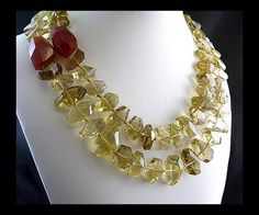 Lemon Citrine Hand Knotted Nugget Necklace with Carnelian Accents, $81, by StyleKittie on ArtFire