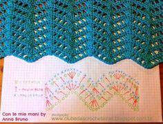 Con le mie mani by Anna Bruno: tutorial schema punto onde Crochet Stitches Chart, Crochet Motifs, Crochet Stitches Patterns, Crochet Diagram, Stitch Patterns, Knitting Patterns, Zig Zag Crochet, Crochet Ripple, Baby Blanket Crochet