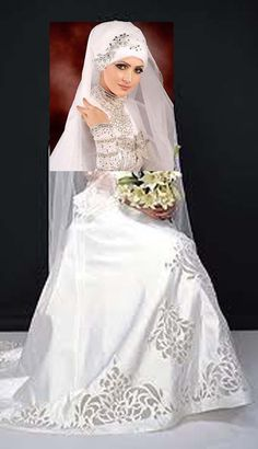 combine modern wedding gown with muslim gown White Bridal Dresses 05685dcf9576