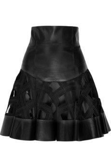 Zac Posen Leather Skirt love the woven fabric on sheer effect - especially in metallic colours ;)