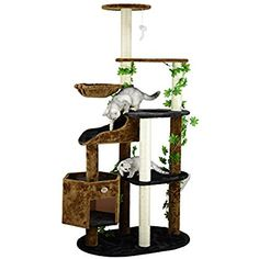 Go Pet Club Cat Tree Furniture, 74-Inch, Black/Brown * Find out more about the great product at the image link. (This is an affiliate link) #CatCondoTreeTower