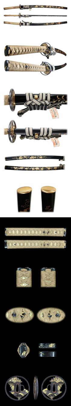 """Historically, katana (刀?) were one of the traditionally made Japanese swords (日本刀 nihonto?)[2][3] that were worn by the samurai class of feudal Japan, also commonly referred to as a """"samurai sword"""". The katana is characterized by its distinctive appearance: a curved, slender, single-edged blade with a circular or squared guard and long grip to accommodate two hands. Katana are renowned for sharpness and strength."""