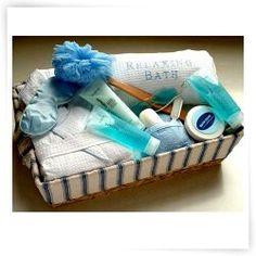 Spa Gift Basket: Bath Pillow+Loofah+Robe+Eye Mask+Bubble Bath+Moisturizer. [Birthday][Christmas]