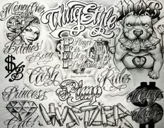 Writing Tattoo Flash by Boog. Chicano Art Tattoos, Gangster Tattoos, Body Art Tattoos, Sleeve Tattoos, Tattoo Flash Sheet, Tattoo Flash Art, Boog Tattoo, Graffiti Lettering Fonts, Prison Art