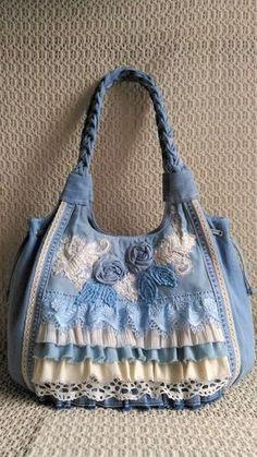 Made to Order - Handmade Handbag for women, denim, jeans han.- Made to Order – Handmade Handbag fo Fabric Handbags, Fabric Bags, Handmade Handbags, Handmade Bags, Diy Bags Purses, Women's Bags, Tote Bags, Sewing Jeans, Denim Purse