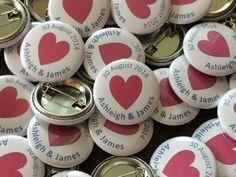 25mm wedding button pin badges. A great reminder of you special day.