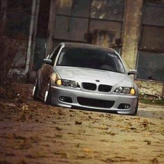BMW E46 3 series silver slammed front stance