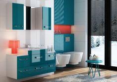 meubles salle de bains en bleu et blanc et une lampe rose lgante - Meuble Salle De Bain Bleu