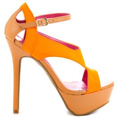 Break the rules in this voluptuous silhouette by Shoe Republic.  The Rules features a bright neon orange vamp paired with a simple tan shade.  A sexy adjustable strap, 5 1/2 inch heel and 1 1/2 inch platform finishes off this sultry sandal.