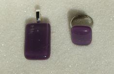 Fused glass Jewelry set, Purple Jewelry: ring, pendant - Handmade