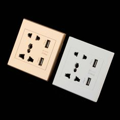 Dual USB Port Electric Wall Charger Dock Socket Power Outlet Panel Plate white Wholesale free shipping