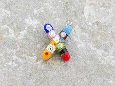 Lettera X   Iniziale in vetro di murano. Ciondolo pendente, colori vari con murrine inserite.