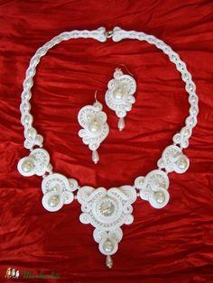 Csillogó rivolis fehér menyasszonyi szett, Ékszer, óra, Esküvő, Ékszerszett…