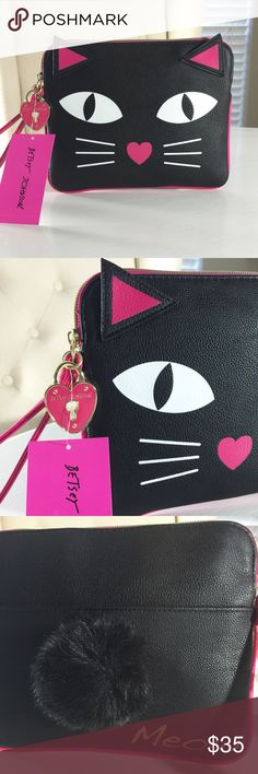 Betsey 🙀Black Kitty Pouch/Wristlet😻 Adorable kitty pouch! Inside has dollar bill holder & 6 credit card holders. Outside, back snap pocket. NWT Betsey Johnson Bags