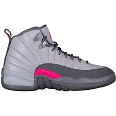 Jordan Retro 12 - Girls' Grade School - Basketball - Shoes - Wolf... ($140) ❤ liked on Polyvore featuring shoes