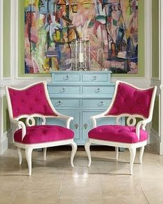 love the chairs, turquoise dresser and painting!