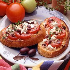 Sourdough bread with olives and goat cheese.  This appetizer though easy (20 minutes) is very gourmet with the use of several interesting ingredients.