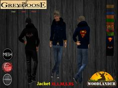 (WEAR ME) The Woodlander Coat (The Grey Goose) secondlife, sl, avatar, men, jacket,coate,winter,cold,snow,ice,outfit,jeans,pants,