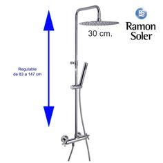 Grupo ducha RS-Cross.  Rociador 30 cm. Telescópico. Termostático.