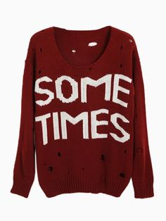@Jodi Garrett   SOMETIMES Cut Out Jumper In Wine Red - Choies.com