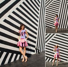 Wear + Where + Well : Kate Spade colorful stripe fit and flare dress at Wynwood Walls in Miami