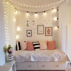 Twinkle lights, bed storage