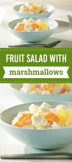 Fruit Salad with Marshmallows – This summer, cool off with this sweet recipe for Fruit Salad with Marshmallows. You'll need only 5 ingredients and 15 minutes of prep time for one yummy potluck treat.