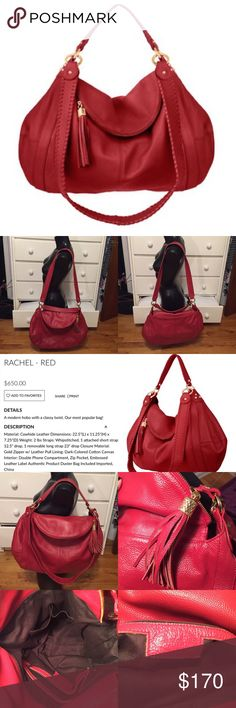 """Red Onna Ehrlich """"Rachel"""" Leather Hobo Bag This bag is in good used condition. It can be worn two different ways and is great for someone that likes to carry a lot. The inside is incredibly roomy and features a zippered pocket and two small open pockets (shown in picture 3). There are a few scuffs and minimal handle wear (shown in picture 4) that are not major and cannot be seen unless looking up close. On the Onna Ehrlich website, this bag retails for $650. Reasonable offers will be…"""