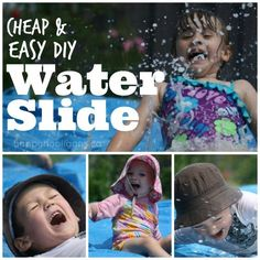 How to make a DIY water slide for your backyard: Totally cheap, totally fun way for kids to play in the backyard. You'll get hours of entertainment out of this simple set up - Happy Hooligans Homemade Water Slide, Homemade Bubbles, Outdoor Activities For Kids, Toddler Activities, Fun Activities, Backyard Play Spaces, Backyard Kids, Kids Slide, Summer Diy