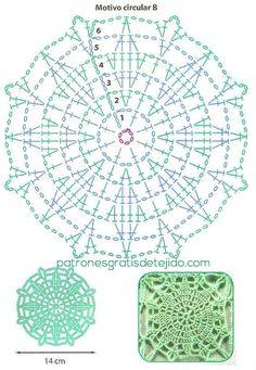 Patron de motivo circular para tejer tunica con ganchillo