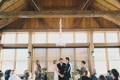 Gorgeous rustic chic wedding ceremony in Colorado barn.