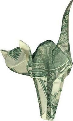 money origami in the shape of a cat