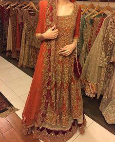 """We love this rusty gold bridal lehnga by Aisha Imran #pakistanvogue #pakistanvoguerepost #gowns #aishaimran"""