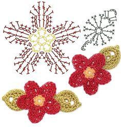 No.16 CrabApple Blossom Crochet Flower Motifs / 크랩애플 꽃 코바늘 플라워 모티브도안 : 네이버 블로그