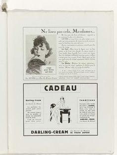 Anonymous | Art - Goût - Beauté, Feuillets de l' élégance féminine, Noël 1928, No. 100, 9e Année, p. 59, Anonymous, Charles Goy, 1928 | Twee advertenties voor lippenstift en  'darling-cream'. Pagina uit het modetijdschrift Art-Goût-Beauté (1920-1933).