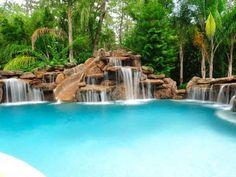 waterfalls, rock and slide