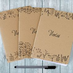 Nature Illustration Notebooks Set of Three