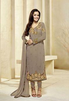 Grey Embroided Georgette Salwar Kameez