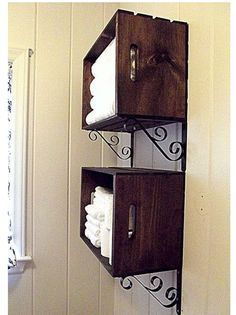 DIY: Pretty Crate Wall Storage ~ What A Great Idea! Could Stain Or Paint  These Crates To Use As Storage In The Bathroom, Laundry Room, Or Mud Room.
