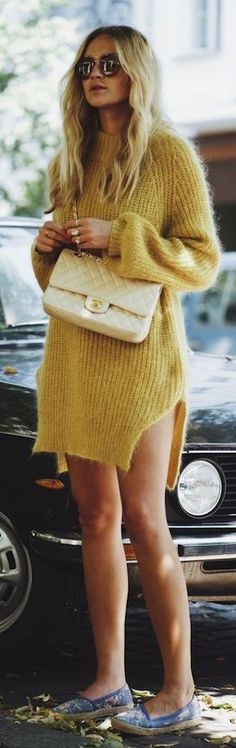 Nina Suess Mustard Fluffy Sweater Dress