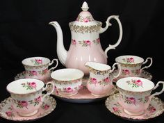 Royal Albert Bridesmaid Roses Pink Tea Pot Set Cup Saucer | eBay